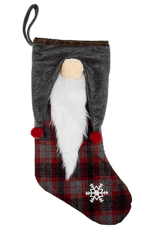 Рождественский носок Дед МорозНовогодние носки<br>Выс=48см, текстиль, серо-красно-белое, подвесное<br>