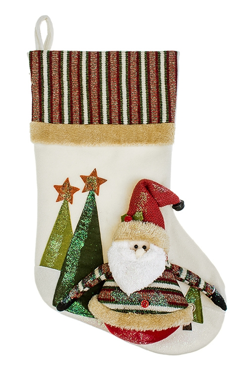 Рождественский носок Дедушка МорозНовогодние носки<br>Выс=48см, текстиль, бело-красно-зеленое, подвесное<br>