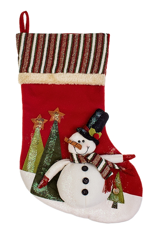 Рождественский носок Веселый снеговикПодарки на Новый год 2018<br>Выс=48см, текстиль, бело-красно-зеленое, подвесное<br>