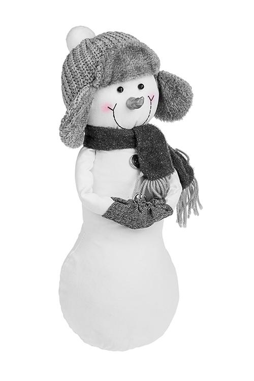 Игрушка Снеговичок в шапке-ушанкеИгрушки и куклы<br>Выс=37см, текстиль, бело-серое<br>