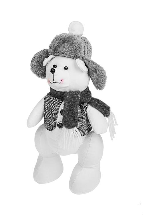 Игрушка Мишка в шапке-ушанкеИгрушки и куклы<br>Выс=36см, текстиль, бело-серое<br>
