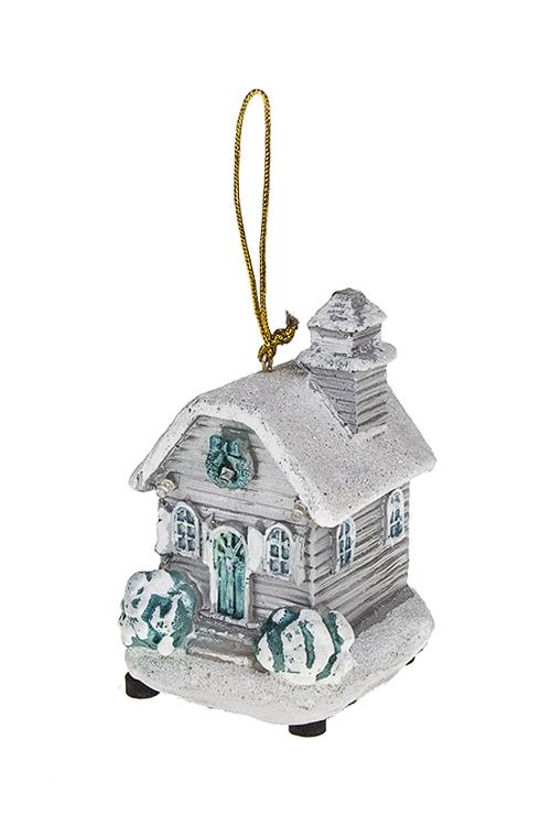 Украшение новогоднее светящееся Домик в снегуПодарки<br>8*7*11см, полирезин, подвесное (3 вида), на батар.<br>