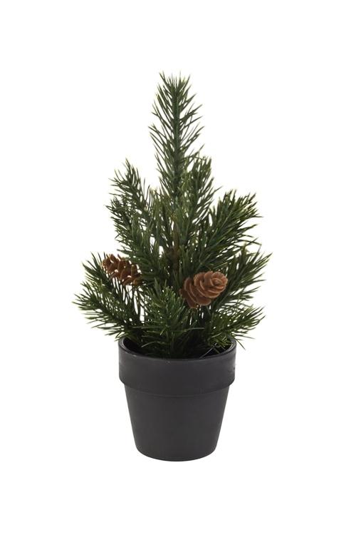 Композиция декоративная ЕлочкаДекоративные цветы<br>Выс=21см, пласт., серо-зеленая (3 вида)<br>