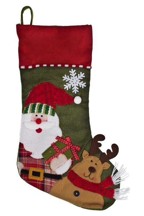 Рождественский носок Носок - Улыбчивый геройПодарки<br>Выс=45см, текстиль, подвесное (2 вида)<br>