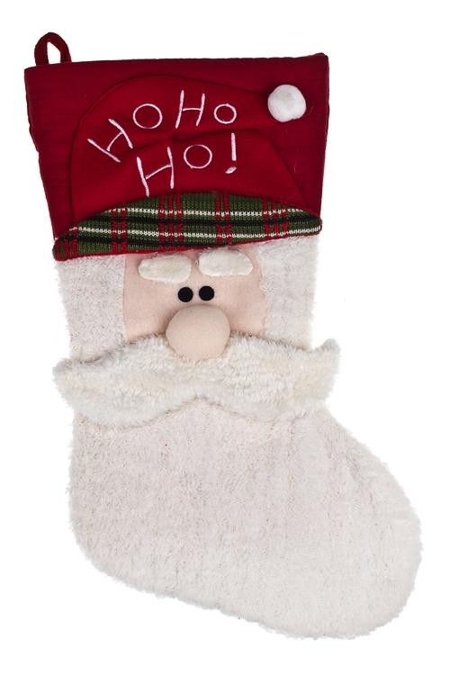 Рождественский носок Носок - Дед МорозМэри<br>Выс=40см, текстиль, красно-белое, подвесное<br>