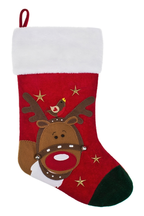 Рождественский носок Носок - Рождественский оленьСувениры и упаковка<br>Выс=46см, текстиль, подвесное<br>