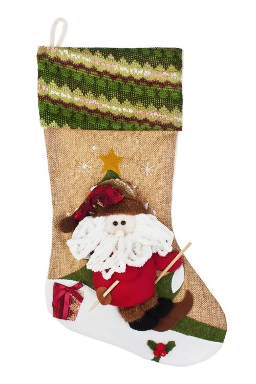 Рождественский носок Новогодние забавыСувениры и упаковка<br>Выс=48см, текстиль, подвесное (2 вида)<br>