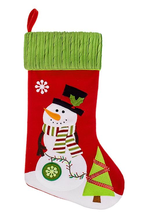 Рождественский носок СнеговикНовогодние носки<br>Выс=48см, текстиль, красно-бело-зеленое, подвесное<br>