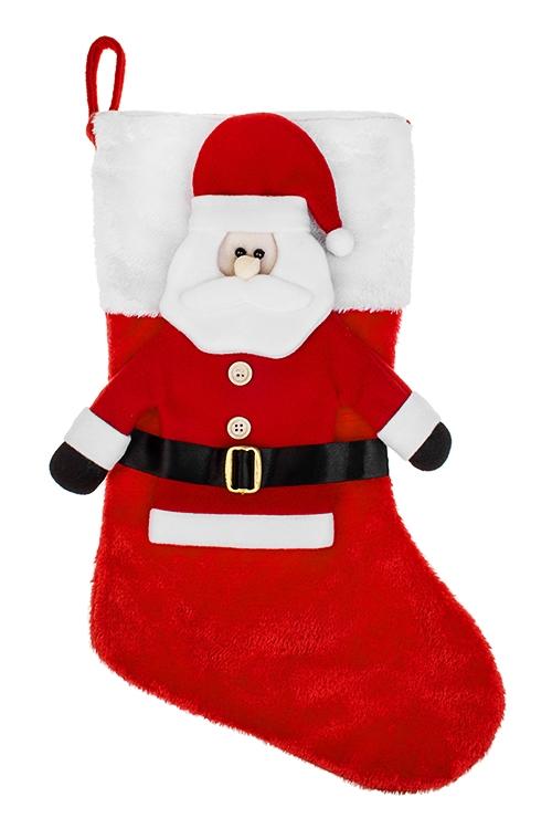Рождественский носок Дед МорозПодарки на Новый год 2018<br>Выс=45см, текстиль, подвесное, красно-белое<br>