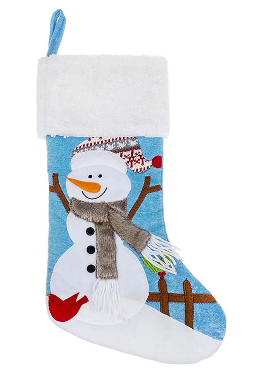Рождественский носок Счастливый снеговикПодарки на Новый год 2018<br>Выс=45см, текстиль, бело-голубое, подвесное<br>
