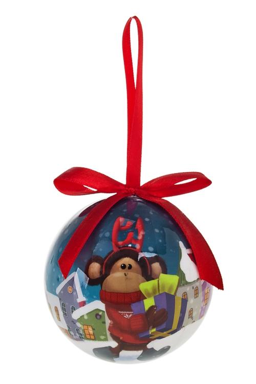 """Шар елочный """"Норвежская обезьянка с подарками"""" - 1"""