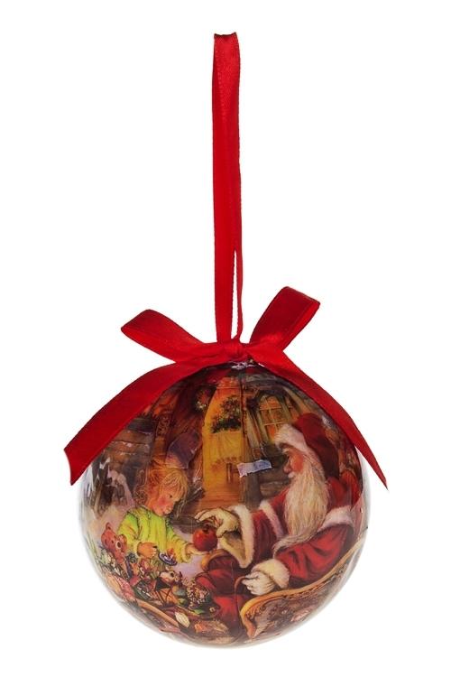 Шар елочный Дед Мороз и девочкаЕлочные шары<br>Д=7.5см, пенопласт, бум., в подарочной коробке<br>