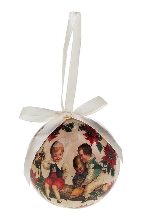 Шар елочный Малыши на деревеПодарки<br>Д=7.5см, пенопласт, бум., в подарочной коробке<br>