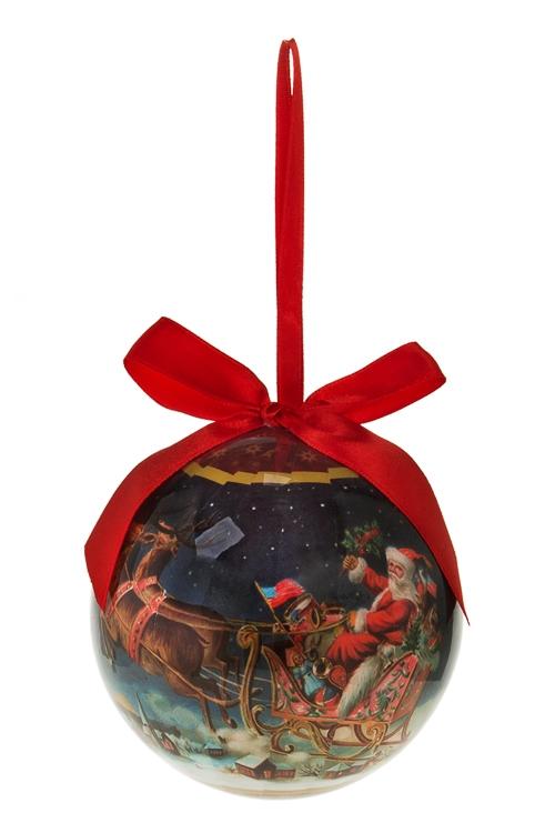 Шар елочный Дед Мороз на саняхПодарки<br>Д=10см, пенопласт, бум.<br>