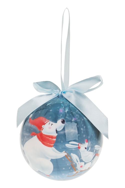 Шар елочный Мишка и зайкиЕлочные шары<br>Д=10см, пенопласт, бум., бело-голубой<br>