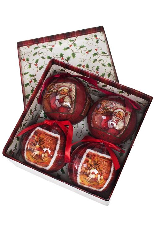 Набор шаров елочных Счастливый праздникПодарки<br>Д=7.5см, пенопласт, бум., в подар. кор.<br>