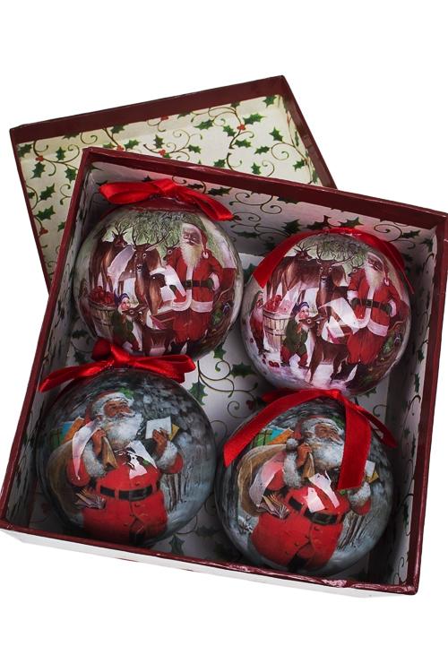 Набор шаров елочных Открытка в стиле ретроПодарки на Новый год 2018<br>Д=7.5см, пенопласт, бум., в подар. кор.<br>