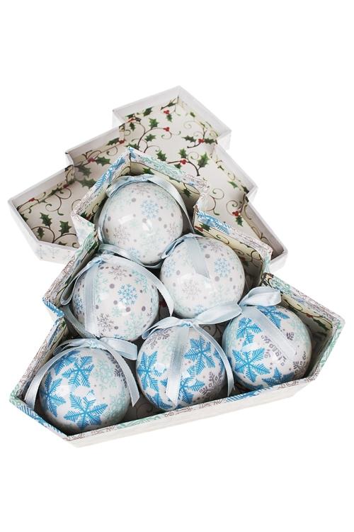 Набор шаров елочных СнежинкиПодарки<br>Д=5см, пенопласт, бум., в подар. кор.<br>