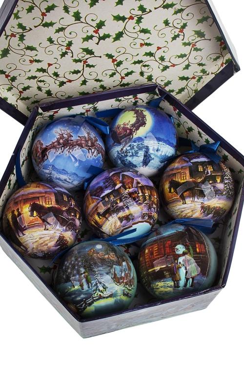 Набор шаров елочных Волшебная ночьЕлочные шары<br>Д=7.5см, пенопласт, бум., в подар. кор.<br>