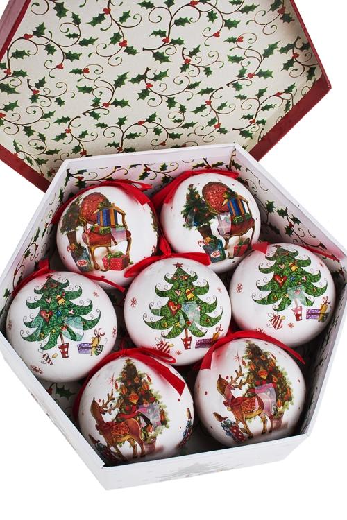 Набор шаров елочных Новогодняя елочкаПодарки<br>Д=7.5см, пенопласт, бум., в подар. кор.<br>