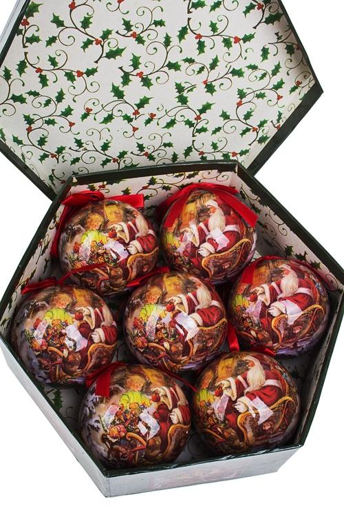 Набор шаров елочных Дед Мороз и девочкаЕлочные шары<br>Д=7.5см, пенопласт, бум., в подар. кор.<br>