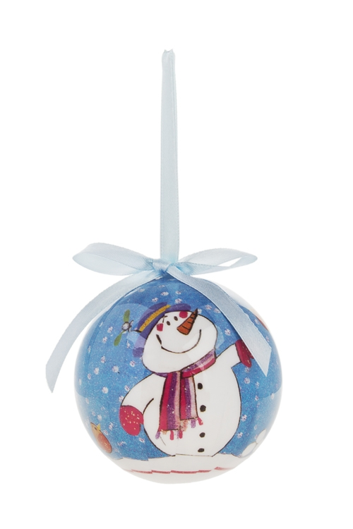 Шар елочный Веселый снеговикПодарки<br>Д=7.5см, пенопласт, бум. (2 вида)<br>