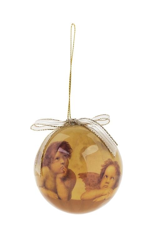 Шар елочный Рафаэлевские ангелочкиПодарки<br>Д=7.5см, пенопласт, бум.<br>