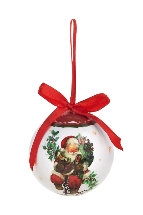 Шар елочный Дед Мороз с подаркамиПодарки<br>Д=7.5см, пенопласт, бум. (2 вида)<br>