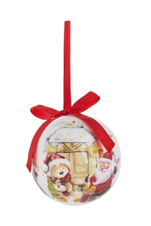 Шар елочный Дед Мороз с мишкойПодарки<br>Д=7.5см, пенопласт, бум. (2 вида)<br>