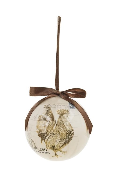 Шар елочный Счастливый петушокПодарки<br>Д=7.5см, пенопласт, бум. (2 вида)<br>