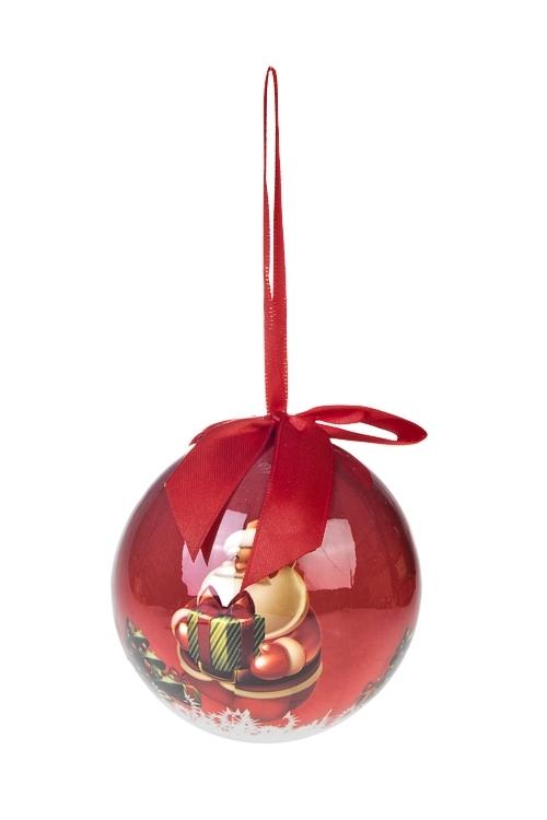 Шар елочный Дед Мороз с подарочкомПодарки<br>Д=10см, пенопласт, бум.<br>