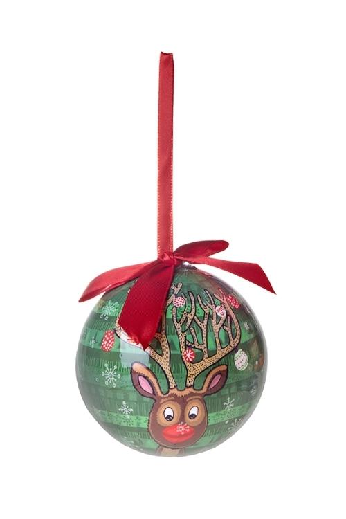 Шар елочный Сказочный оленьЕлочные шары<br>Д=10см, пенопласт, бум.<br>