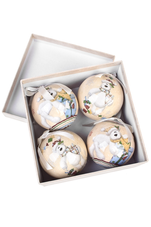 Набор шаров елочных Белый мишаПодарки на Новый год 2018<br>6-предм., Д=7.5см, пенопласт, бум., в подар. кор.<br>