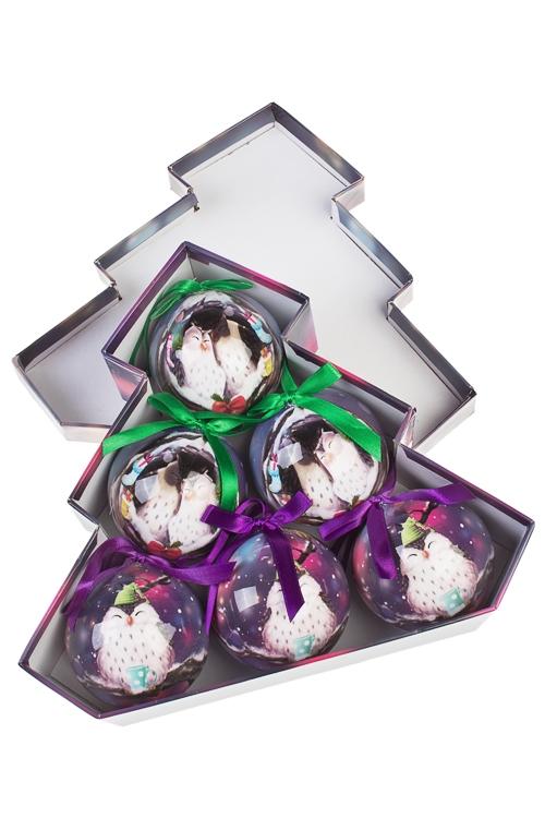 Набор шаров елочных СовикиЕлочные шары<br>6-предм., Д=7.5см, пенопласт, бум., в подар. кор.<br>