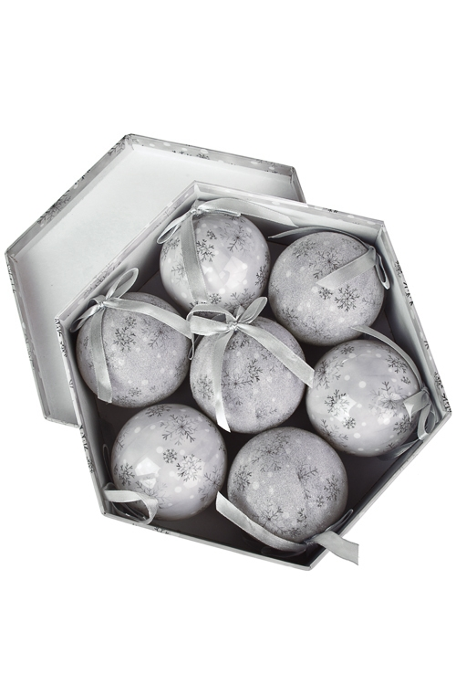 Набор шаров елочных Танец снежинокПодарки<br>7-предм., Д=7.5см, пенопласт, бум., в подар. кор.<br>