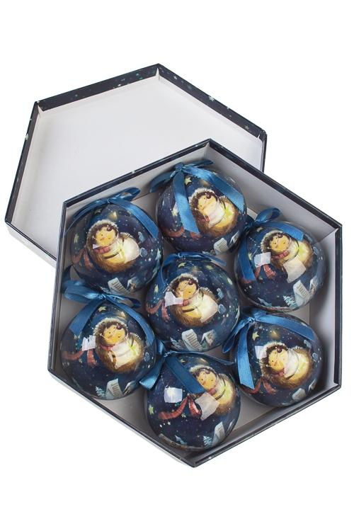 Набор шаров елочных Волшебный ежикПодарки<br>7-предм., Д=7.5см, пенопласт, бум., в подар. кор.<br>