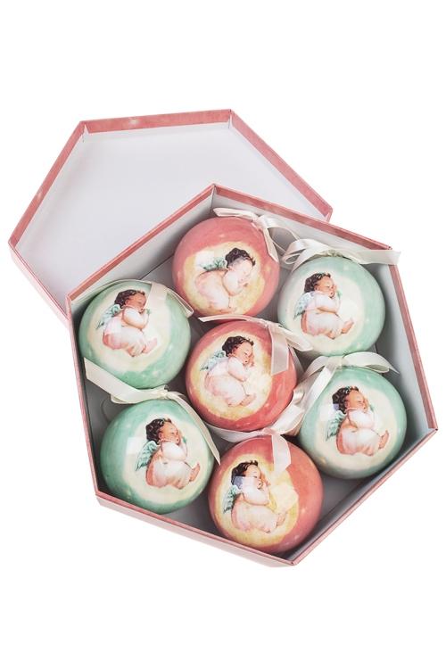 Набор шаров елочных Сны ангелочкаПодарки<br>7-предм., Д=7.5см, пенопласт, бум., в подар. кор.<br>