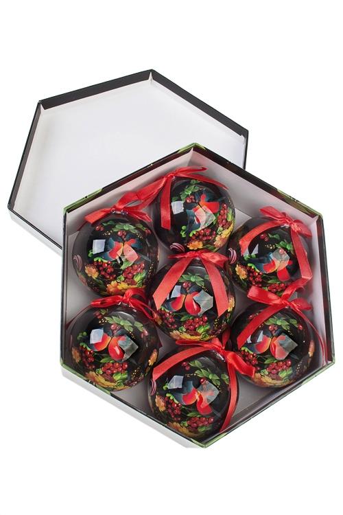 Набор шаров елочных Влюбленные снегириЕлочные шары<br>7-предм., Д=7.5см, пенопласт, бум., в подар. кор.<br>