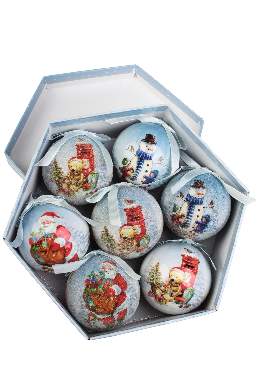 Набор шаров елочных Мешок подарков для малышейЕлочные шары<br>7-предм., Д=7.5см, пенопласт, бум., в подар. кор.<br>