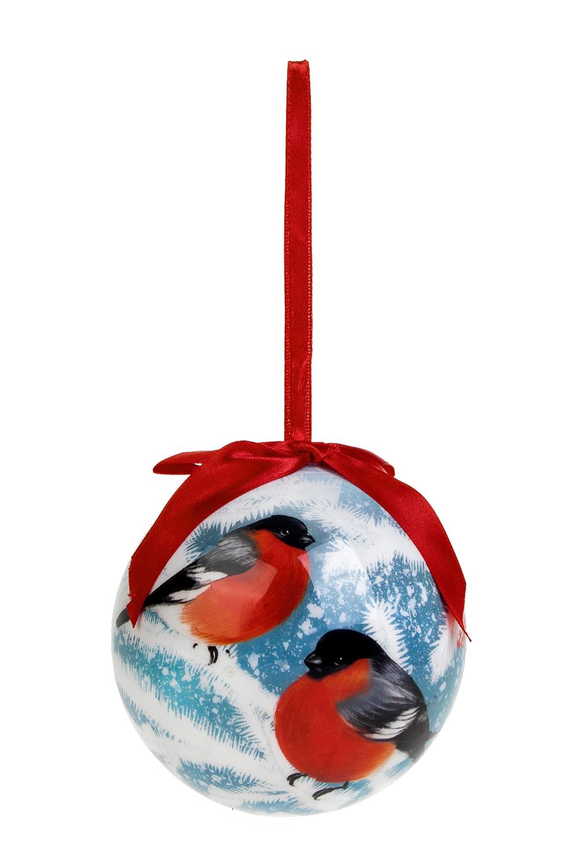 Шар елочный Волшебные снегириПодарки на Новый год 2018<br>Д=10см, пенопласт, бум., бело-красно-голубой<br>
