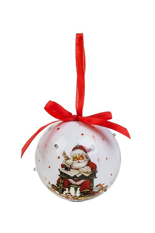 Украшение елочное светящееся Дед Мороз отвечает на письмаПодарки на Новый год 2018<br>Д=8см, пенопласт, бум., на батар.<br>