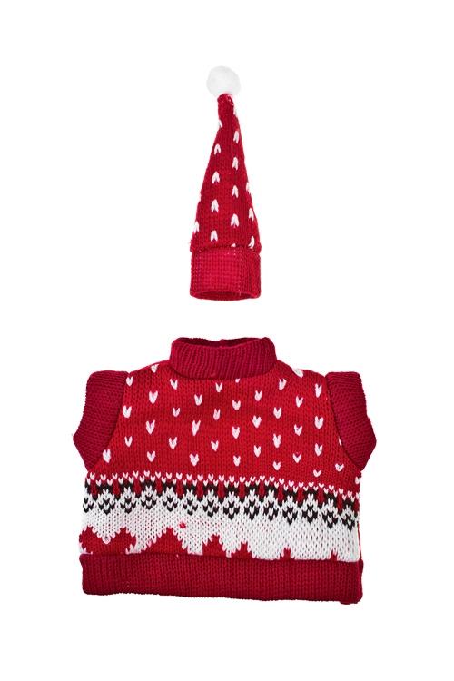 Набор украшений для бутылки Свитер и шапочкаНовогодние украшения и статуэтки<br>Текстиль, бело-красный<br>