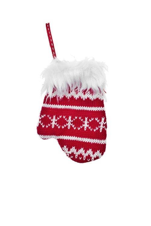 Украшение декоративное Норвежский узорЕлочные украшения<br>Выс=13см, текстиль, красно-белое, подвесное (2 вида)<br>