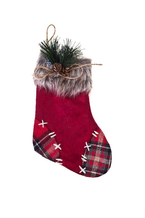 Рождественский носок Рождественский носокСувениры и упаковка<br>Выс=20см, текстиль, красно-серое, подвесное (3 вида)<br>