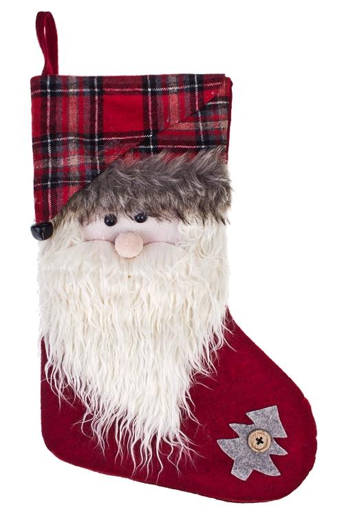 Рождественский носок Дед МорозСувениры и упаковка<br>Выс=40см, текстиль, красно-белое, подвесное<br>