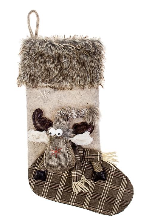 Рождественский носок ЛосикНовогодние украшения и статуэтки<br>Выс=48см, текстиль, серо-коричн., подвесное<br>