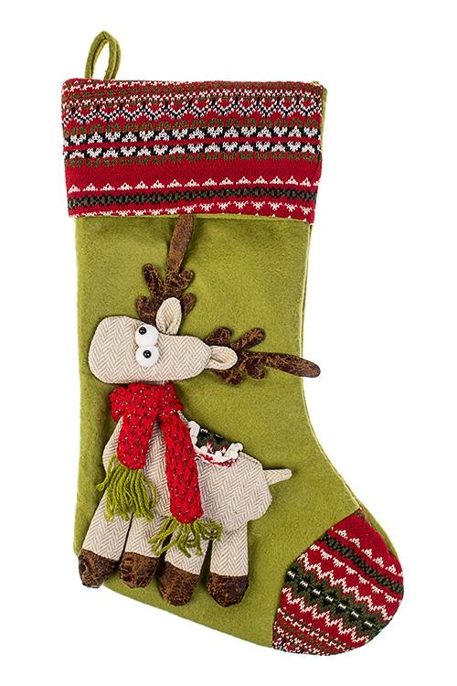 Рождественский носок Веселый оленьНовогодние украшения и статуэтки<br>Выс=48см, текстиль, зелено-красное, подвесное (2 вида)<br>