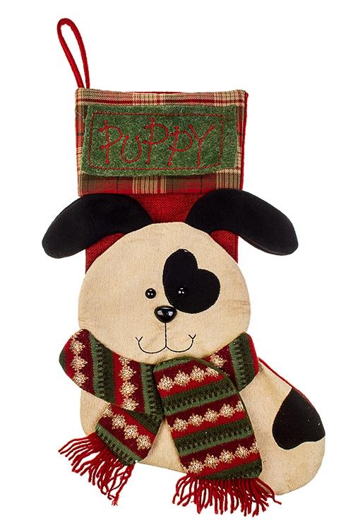 Рождественский носок Милый песикПодарки на Новый год 2018<br>Выс=51см, текстиль, беж.-красн.-зеленое, подвесное<br>