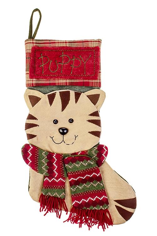 Рождественский носок КотенокНовогодние украшения и статуэтки<br>Выс=48см, текстиль, беж.-красн.-зеленое, подвесное<br>