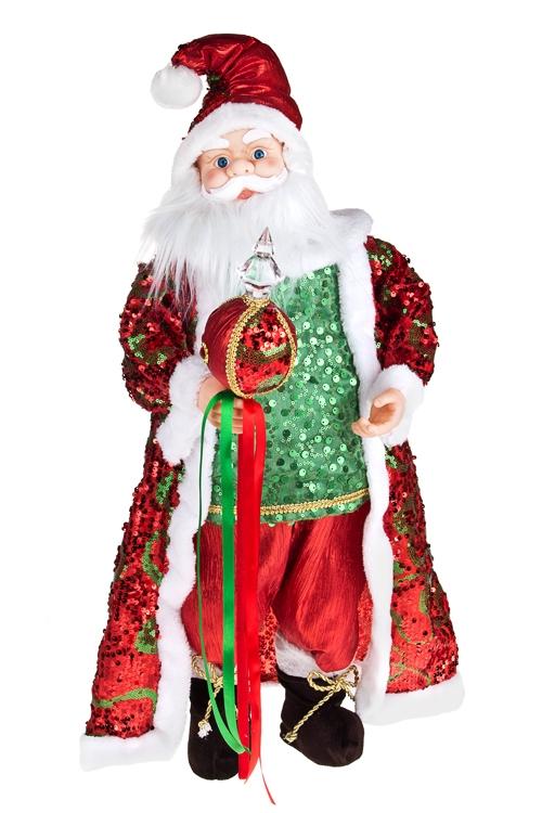 Украшение новог. музык.-двиг. Дед Мороз с посохомКуклы<br>Выс=66см, текстиль, пластм., зелено-красное<br>